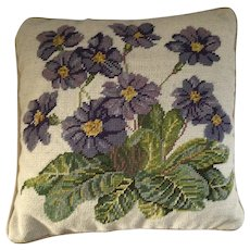 Needlepoint Pillow with Purple African Violets