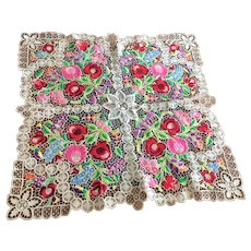 Crewel Embroidery Fancywork Square Doily