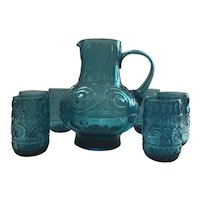 Empoli Glass Pitcher and set of 6 Tumblers