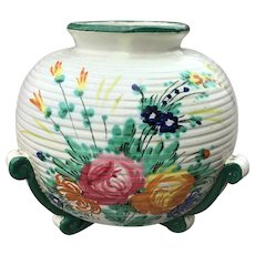 Italian Majolica Vase with Hand Painted Flowers