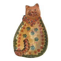 Majolica made in Italy Cat Wall Hanging
