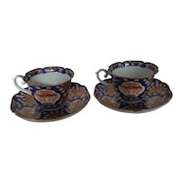 Set of 2 Japanese Imari Teacups with Saucers