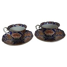 Set of 2 Japanese Imari Teacups with Saucers