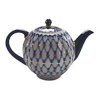 Beautiful Lomonosov Cobalt Net Teapot with 22k Gilding