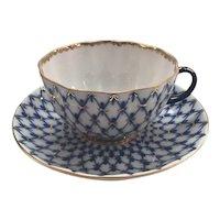 Beautiful Cobalt Lomonosov Teacup and Saucer with Gilding