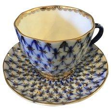 Lomonosov Porcelain Teacup in the Cobalt Net Pattern marked made in USSR
