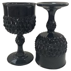 Indiana Glass Cameo Tiara Black Goblets