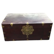 Exquisite Rosewood Korean Trunk with Ornate Brass Hardware