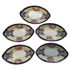 Set of 5 Hand Painted Nippon Open Salts