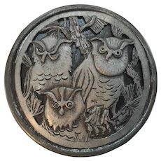 Vintage Tin Trinket Box with Pewter Lid with Owlsby Metzke