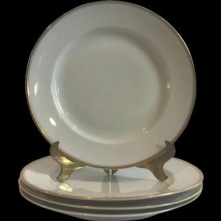 Set of 4 Elegant Antique Nippon White Dinner Plates with Gold Trim