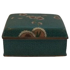 Chinese Cloisonné Hinged Box with Cherry Blossoms