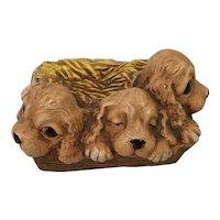 Woodlander Trio  Stoneware Hand Painted Puppies Moorcroft England