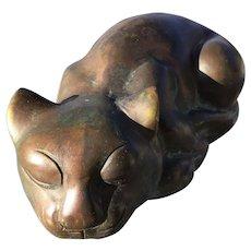 Heavy Bronze Sleeping Cat