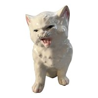 White Cat with Personality Porcelain Figurine marked Czechoslovakia