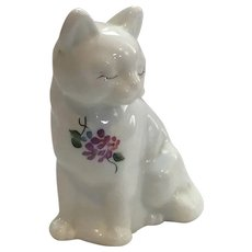Fenton Hand Painted Signed Milk Glass Cat