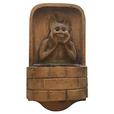 Art Nouveau Carved Wooden Match Holder with Carved Bat