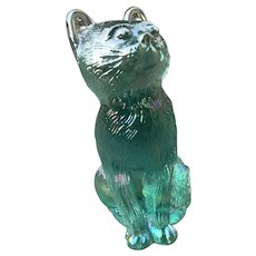 Mosser Opalescent Turquoise Glass Cat