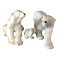 Set of 3 Lomonosov  Porcelain Polar Bears with the Red Mark