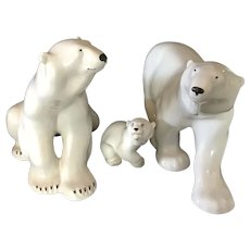 Set of 3 Lomonsov Porcelain Polar Bears