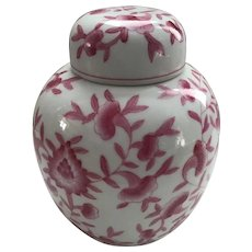 Pink and White Hand Painted Ginger Jar