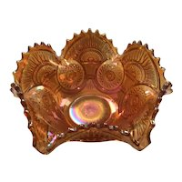 Imperial Twins Pattern carnival Glass Bowl