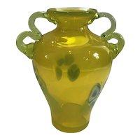 Handblown Art Glass Vaseline Glass Vase