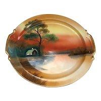 "10"" Hand Painted Scenic Noritake Serving Dish"
