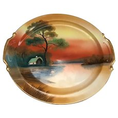 "10"" Hand Painted Scenic Noritake Serving Dish"
