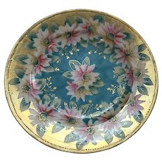 "Hand Painted Japanese 8 3/8"" Plate with Moriage and Gold"