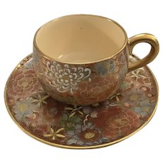 Beautiful Satsuma Meiji Period Hand Painted Mille Fleur Thousand Flower Demitasse Cup and Saucer