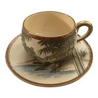 Beautiful Hand Painted Meiji Period Gyokuzan Satsuma Demitasse Cup and Saucer with a Mountain Scene