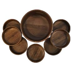 Mid Century Kustom Kraft Black Walnut Salad Bowls Set