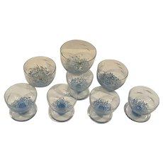 Large Set of Handblown  Lindshammar Glass Dessert Bowls  Made in Sweden