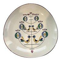 Beautiful Mid Century Modern Knabstrup Pottery of Denmark Birds Platter