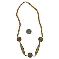 Art Deco Faceted Venetian Lampwork  Bead Necklace