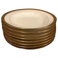 Set of 8 Limoge made for Gumps Rimmed Bowls
