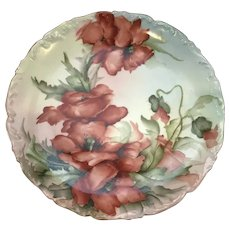 Limoges T&V Hand Painted Plate With Poppies