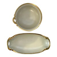 2 Lovely Turn of the Century  Sauce Dishes With Lustreware and Heavy Gold Trim marked Brown's Studio