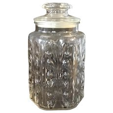 "Vintage Imperial Glass Atterbury Scroll 9"" Clear Glass Jar"
