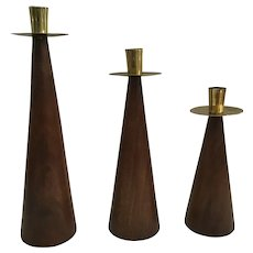 Mid-Century Modern Wooden and Brass Candlesticks from Wilson's Carmel
