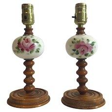 Set of 2 Handpainted Boudoir Lamps