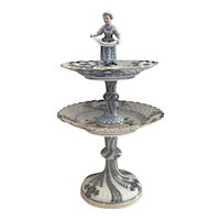 Meissen Two Tier Reticulated Tidbit Tray with with Figural Top