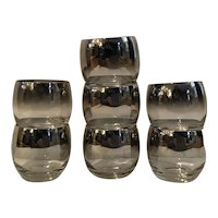 Set of 7 Dorothy Thorpe Mercury Fade Roly Poly Glasses, 1950's Barware