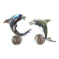 Set of 2 Murano Glass Dolphins on Bullicante Balls