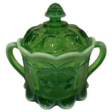 Mosser Opalescent Green Glass Biscuit or Tobacco Jar