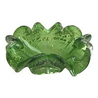 """Green Murano 6"""" Bowl with Silver Foil"""