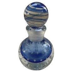 Murano Glass Perfume Bottle, Sommerso, Bullicante, striped stopper