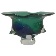 Large Mid Century Cobalt Blue and Green Murano Bowl