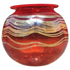 Absolutely Stunning Signed Large Orange Red Art Glass Vase with Silver Ribbon Trim